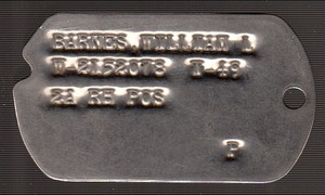 William L Barnes Dog Tag